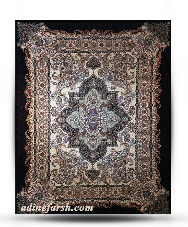 فرش کتیبه سرمه ای ۱۲۰۰ شانه تراکم ۳۶۰۰